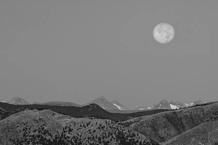 Supermoon Over Colorado Rocky Mountains Indian Pea