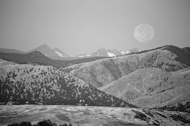 Supermoon Over Colorado Rocky Mountains BW