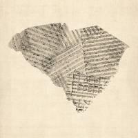 """Old Sheet Music Map of South Carolina"" by ModernArtPrints"