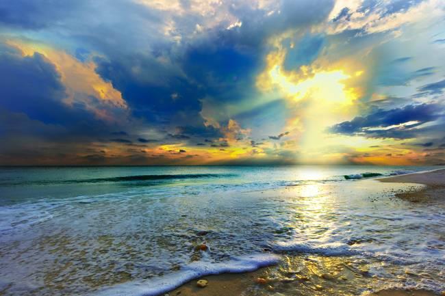 Beautiful Beach Sunset Landscape Blue Sea By Eszra 2014