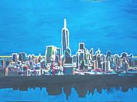 Neon Skyline of New York City Manhattan with One W