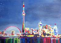 Toronto Neon Shimmering Skyline with CN Tower