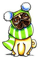 Pug in Scarf & Hat