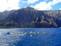 Hanalei Outrigger Canoe on the Napali Coast