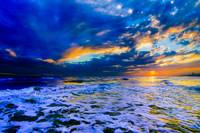 Blue Beach Sunset Dark and Stormy Sea Art Prints
