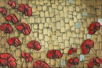 Abstract red poppies on gold