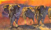 Tanzanian Elephant Stampede merged giclee