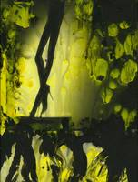 Yellow water color painted gelatin print