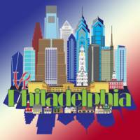 Iconic Philadelphia Red White & Blue Background