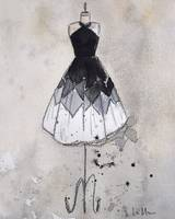 Black and White Marjorie Vintage Dress