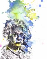 Albert Einstein portrait painting art