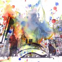 Chicago bean cityscape skyline art painting Art Prints & Posters by Isabelle Dillard