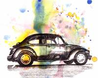 VW Beetle Car Automobile Art Painting