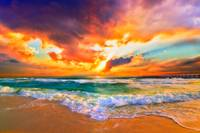 Red Orange Purple Beautiful Beach Sunset
