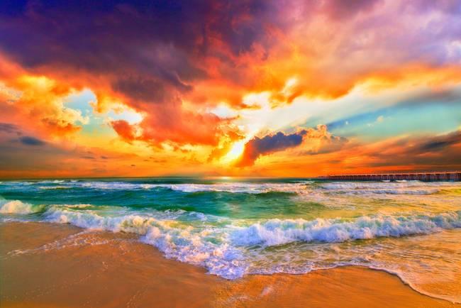 Red Orange Purple Beautiful Beach Sunset By Eszra 2014