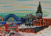St Mary's and the Tyne Bridge in winter