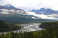 Matanuska River and Chugach Mountains in the Fall