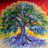 Red Sky Tree  by Marcia Baldwin