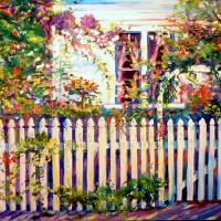 A Garden with Picket Fence by Marcia Baldwin