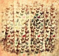 Butterflies on grunge wood