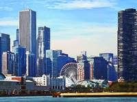 Chicago IL - Chicago Skyline and Navy Pier