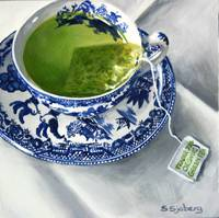 Green Tea in Blue Willow