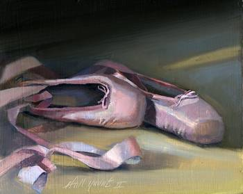 Jaffree Ballet Slippers by artist Hall Groat II. Giclee prints, art prints, a still life, fine art print; from an original oil painting