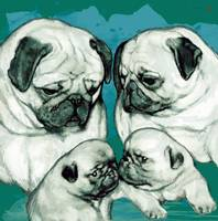 Dog family pop art -  stylised drawing poster
