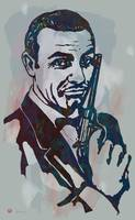 007 James Bond - Stylised Etching Pop Art Poster