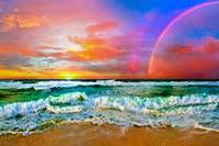 beach rainbow colorful ocean wave sunset