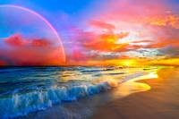 pink sunset beach with rainbow and ocean waves