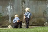 Amish Boys Playing in Fountain