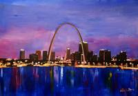 St Louis Arch Gateway at Sunset