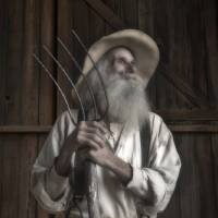 Old Farmer and His Pitchfork by Betty Sederquist