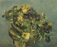 Van Gogh,Basket of pansies on a small table