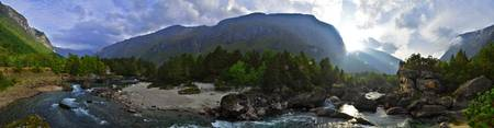 Panoramic Istra River, Norway.