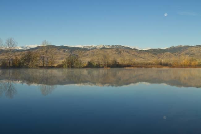 Coot lake Morning Moon Set Reflections