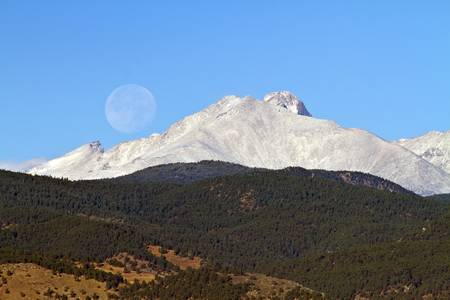 Full Moon Setting Over Snow Covered Twin Peaks
