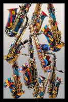 Colorful Saxophones Art Print by Juleez