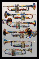 Colorful Painted Trumpets Music Art Print