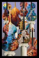 Colorful Musical Instrument Cello Violin Art by Ju