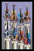 Violin Art Decor Print Colorful Music Art Juleez