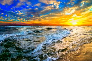 Yellow Orange Blue Colorful Ocean Sunset Prints By Eszra