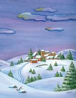 A winter's night landscape, Christmas night