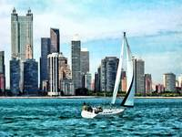 Chicago IL - Sailboat Against Chicago Skyline