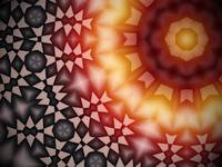Radial geometric glowing pattern with warm colors