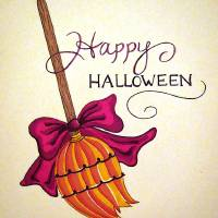 Happy Halloween Broomstick Art Prints & Posters by Nina Boyd