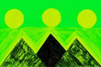 Pyramids Of Other Worlds In Green and Yellow