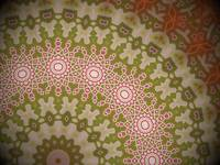 Radial red, white and green geometric pattern, art