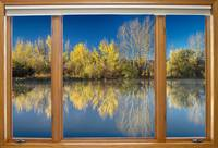 Autumn Water Reflections Classic Wood Window View